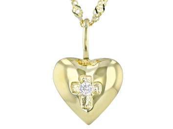 Picture of White Cubic Zirconia 18K Yellow Gold Over Sterling Silver Pendant With Chain 0.05ctw