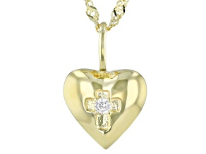 White Cubic Zirconia 18K Yellow Gold Over Sterling Silver Pendant With Chain 0.05ctw
