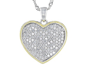 White Cubic Zirconia Rhodium And 14K Yellow Gold Over Sterling Silver Heart Pendant With Chain