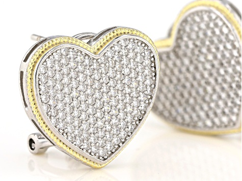 White Cubic Zirconia Rhodium And 14K Yellow Gold Over Sterling Silver Heart Earrings 0.73ctw
