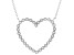 White Cubic Zirconia Rhodium Over Sterling Silver Heart Necklace 0.72ctw