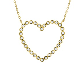 White Cubic Zirconia 18K Yellow Gold Over Sterling Silver Heart Necklace 0.72ctw