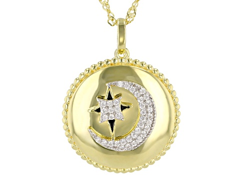 White Cubic Zirconia 18K Yellow Gold Over Sterling Silver Celestial Pendant With Chain 0.27ctw