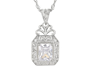 White Cubic Zirconia Rhodium Over Sterling Silver Pendant With Chain 3.61ctw