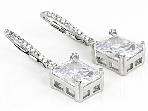 White Cubic Zirconia Rhodium Over Sterling Silver Earrings 9.78ctw