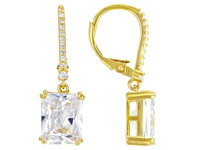 White Cubic Zirconia 18K Yellow Gold Over Sterling Silver Earrings 9.78ctw