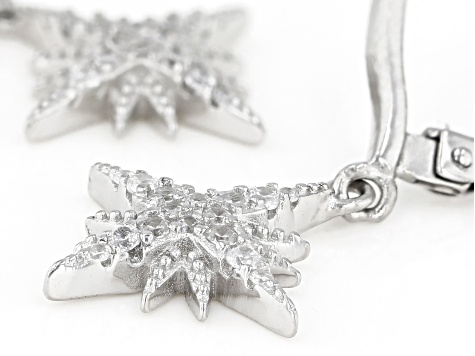 White Cubic Zirconia Rhodium Over Sterling Silver Star Earrings 0.40ctw