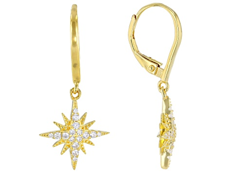 White Cubic Zirconia 18K Yellow Gold Over Sterling Silver Star Earrings 0.40ctw