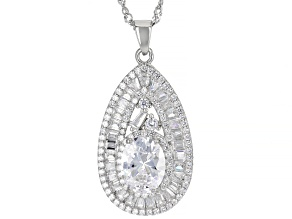 White Cubic Zirconia Rhodium Over Sterling Silver Pendant With Chain 4.86ctw