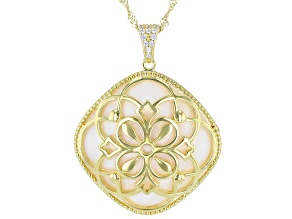 Mother Of Pearl And White Cubic Zirconia 18K Yellow Gold Over Sterling Silver Pendant With Chain