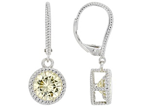 Yellow Cubic Zirconia Rhodium Over Sterling Silver Earrings 5.95ctw
