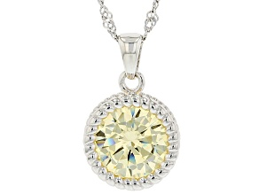 Yellow Cubic Zirconia Rhodium Over Sterling Silver Pendant With Chain 5.94ctw