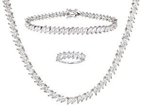 White Cubic Zirconia Rhodium Over Sterling Silver Jewelry Set 49.21ctw