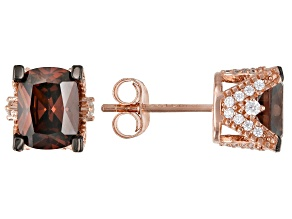 Mocha And White Cubic Zirconia 18K Rose Gold Over Sterling Silver Earrings 5.38ctw