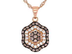 Mocha and White Cubic Zirconia 18k Rose Gold Over Sterling Silver Pendant With Chain 0.91ctw