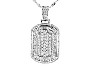 White Cubic Zirconia Rhodium Over Sterling Silver Pendant With Chain 3.26ctw