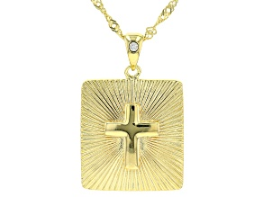 White Cubic Zirconia 18k Yellow Gold Over Sterling Silver Cross Pendant With Chain 0.02ctw