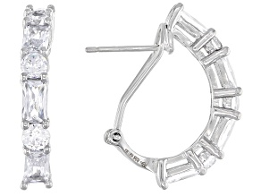 White Cubic Zirconia Rhodium Over Sterling Silver Earrings 4.32ctw