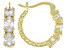 White Cubic Zirconia 18k Yellow Gold Over Sterling Silver Hoop Earrings 3.11ctw