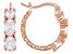 White Cubic Zirconia 18k Rose Gold Over Sterling Silver Hoop Earrings 3.11ctw