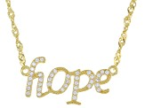 White Cubic Zirconia 18k Yellow Gold Over Sterling Silver Hope Necklace 0.27ctw