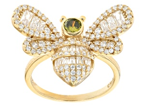 Yellow And White Cubic Zirconia 18k Yellow Gold Over Sterling Silver 2.58ctw