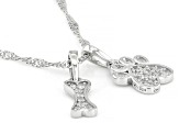 White Cubic Zirconia Rhodium Over Sterling Silver Dog Pendant With Chain 0.31ctw