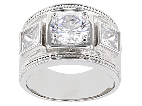 White Cubic Zirconia Rhodium Over Sterling Silver Ring 4.77ctw