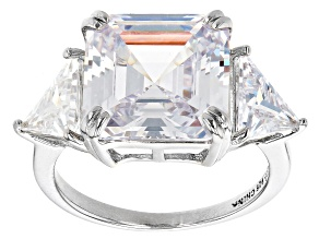 White Cubic Zirconia Platinum Over Sterling Silver Asscher Cut Ring 15.24ctw