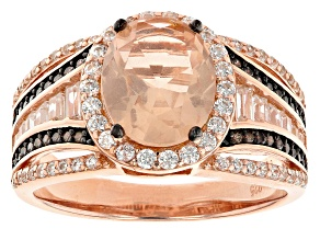 Pink Morganite Simulant And Mocha And White Cubic Zirconia 18k Rose Gold Over Silver Ring