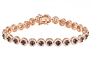 Mocha And White Cubic Zirconia 18k Rose Gold Over Sterling Silver Bracelet 8.25ctw