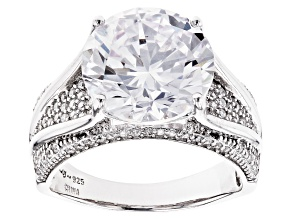 White Cubic Zirconia Rhodium Over Sterling Silver Ring 11.08ctw