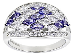 Blue And White Cubic Zirconia Rhodium Over Sterling Silver Ring 2.43ctw