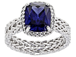 Blue Cubic Zirconia Rhodium Over Sterling Silver Ring 5.04ctw