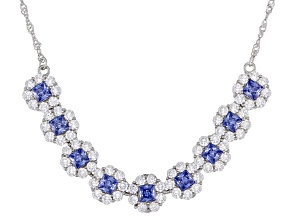 Blue And White Cubic Zirconia Rhodium Over Sterling Silver Necklace 4.95ctw