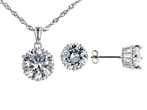 White Cubic Zirconia Rhodium Over Sterling Silver Jewelry Set 14.83ctw