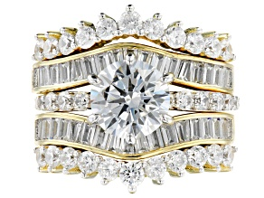 White Cubic Zirconia 18K Yellow Gold Over Sterling Silver Ring With Bands 7.03ctw