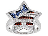 Lab Created Blue Spinel And Red And White Cubic Zirconia Rhodium Over Silver Flag Ring 0.82ctw