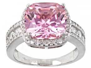 Pink And White Cubic Zirconia Rhodium Over Sterling Silver Ring 9.26ctw
