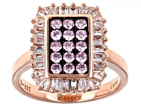 Pink And White Cubic Zirconia 18k Rose Gold Over Sterling Silver Ring 2.02ctw