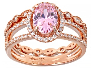 Pink And White Cubic Zirconia 18k Rose Gold Over Sterling Silver Ring 2.60ctw