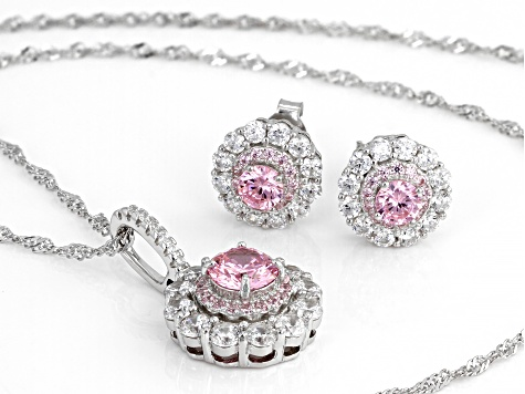 Pink And White Cubic Zirconia Rhodium Over Sterling Silver Jewelry 5.50ctw
