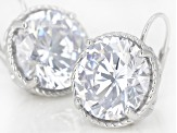 White Cubic Zirconia Rhodium Over Sterling Silver Earrings 20.65ctw