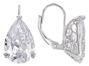White Cubic Zirconia Rhodium Over Sterling Silver Earrings 17.73ctw