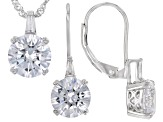 White Cubic Zirconia Rhodium Over Sterling Silver Earrings And Pendant With Chain 9.20ctw