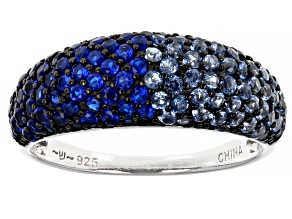 Blue Lab Created Spinel Rhodium Over Sterling Silver Ring 1.51ctw