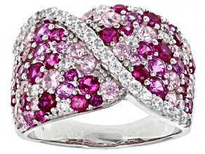 Lab Created Ruby, Pink And White Cubic Zirconia Rhodium Over Sterling Silver Ring 4.04ctw