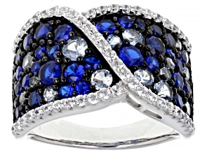 Lab Created Blue Spinel And White Cubic Zirconia Rhodium Over Sterling Silver Ring 4.74ctw