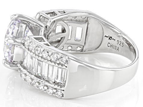 White Cubic Zirconia Rhodium Over Sterling Silver Ring 12.96ctw