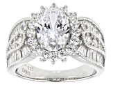 White Cubic Zirconia Platinum Over Sterling Silver Ring 5.86ctw